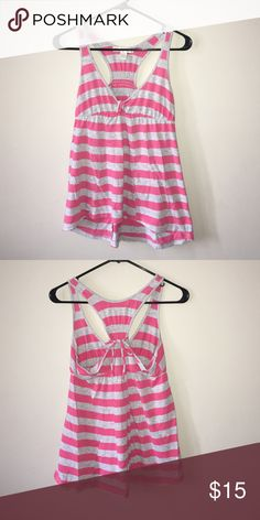 Pink and grey stripped tank top High low tank top with a racer back. Tops Tank Tops