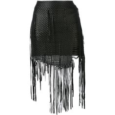 Magda Butrym fringed skirt (1 896 AUD) ❤ liked on Polyvore featuring skirts, black, genuine leather skirt, leather skirt, real leather skirt, knee length leather skirt and leather fringe skirts