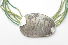 Ariane Hartmann. Necklace: Within word HYDRANGEA, 2015. 935 Silver, peridot…