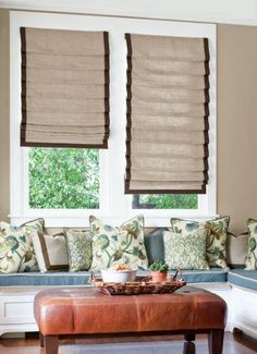 Soft Roman Fabric #Shades in 14540 Soho Weave/ Oatmeal with 3-sided Ribbon Banding Trim in 14760 Knoll Park Ribbon/ Spa