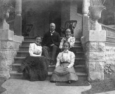 Fargo family on front steps of the Fargo Mansion, Lake Mills, WI, mid 1890s.