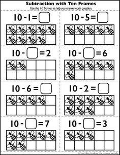 Free Math Printables.  Subtraction with 10 frames.  Learning number bonds of 10.
