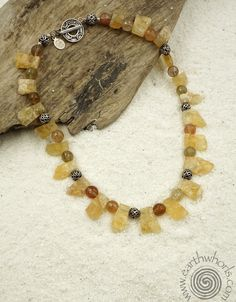 Citrine, Rutilated Quartz, Hill Tribe & Sterling Silver Necklace