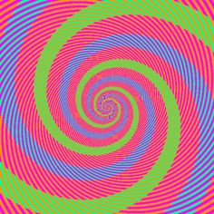 Blue Green spiral illusion: Via my evil twin Richard Wiseman comes one of the best color optical illusions I have ever seen. The original was apparently posted on Buzzhunt Akiyoshi Kitaoka's incredible optical illusion website: Crazy Optical Illusions, Color Illusions, Optical Illusion Gif, Art Optical, Illusion Art, Photoshop, Illusion Pictures, Eye Tricks, Gifs