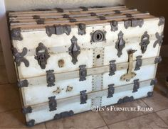 ReStyled vintage trunk. Colors are: General Finishes Snow White, Seagull Grey, Millstone, and Driftwood sealed with GF High Performance Top Coat Flat, and antiqued with Annie Sloan Dark Wax.  www.facebook.com/JensFurnitureRehab