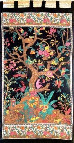 Handmade Cotton Tree of Life Tab Top Curtain Drape Door Panel Window 44x88 Multi