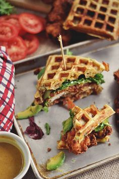 Fried Chicken and Waffle Sandwiches..... Mindblowing...