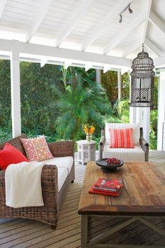Verandah with exposed rafters Outdoor Areas, Outdoor Rooms, Outdoor Living, Outdoor Furniture Sets, Outdoor Decor, Fresco, Exposed Rafters, Australian Homes, My Dream Home