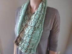 Chunky Knit Cowl, Infinity Scarf, Two-Toned, Mint Green and Brown by…