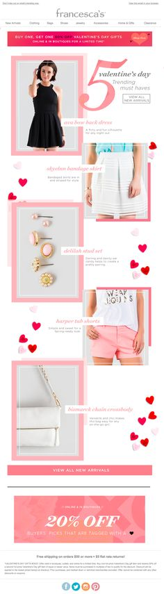 Francesca's Valentine's Day email 2015