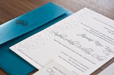 Peacock Letterpressed Wedding Invitations by NoteworthyPress, $9.75