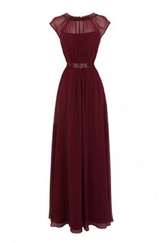 Timeless Jewel A-line Floor Length Chiffon Burgundy Prom/Evening Dress With Beading