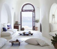 Santorini . Greek Island home in Therassia . Elle Decor . Living Room Interior