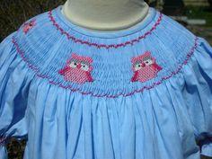 Blue gingham handsmocked bishop pink owls ready to ship size 3T.....$75