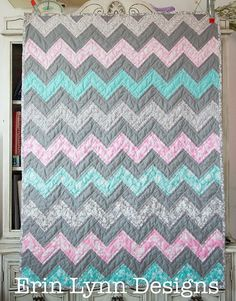 Teal Pink and Gray Chevron Hand Quilted Crib Quilt