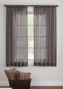 Better Homes and Gardens Elise Woven Stripe Sheer Window Panel Short CurtainsStripe