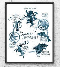 Juego de tronos imprimir acuarela, juego de tronos arte, cartel de película, Casa Targaryen Stark Lannister, arte de la pared, decoración casera, gris - 496-1