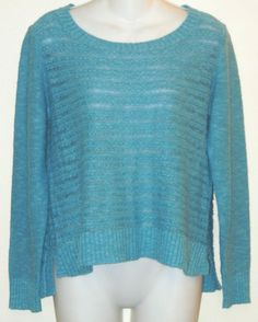 Eileen Fisher Linen Cotton X-small Sweater. Free shipping and guaranteed authenticity on Eileen Fisher Linen Cotton X-small SweaterGreat sweater from Eileen Fisher in aqua blue line...