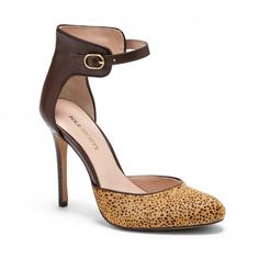 Women's Tan Dark Chocolate Haircalf 4 Inch Rounded Toe Leather Heel | Rachael by Sole Society