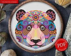 Mandala Bear Cross Stitch Pattern for Instant Download - 166 | Lovely Cross Stitch| Room Decor| Needlecraft Pattern| Easy Cross Stitch