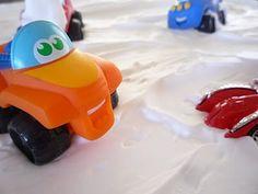 baking sheet + shaving cream + mini cars = snow wheeling