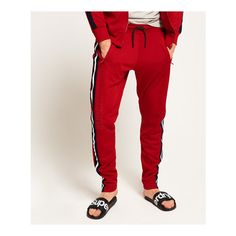 Superdry Lineman Slim Sprint Sweatpants (3,100 PHP) ❤ liked on Polyvore featuring men's fashion, men's clothing, men's activewear, men's activewear pants, red, mens jogger sweatpants, mens slim sweatpants, mens sweatpants and mens activewear pants