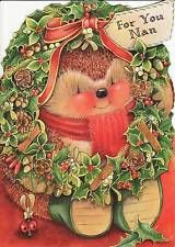 RARE - Lovely Hallmark Country Companions Hedgehog Christmas Card ~ For You Nan