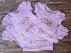BIRTHDAY! Little girls pink and gold lettering, age, birthday party shirt, photo prop, pictures, outfit, age, two, three, four, five, chic