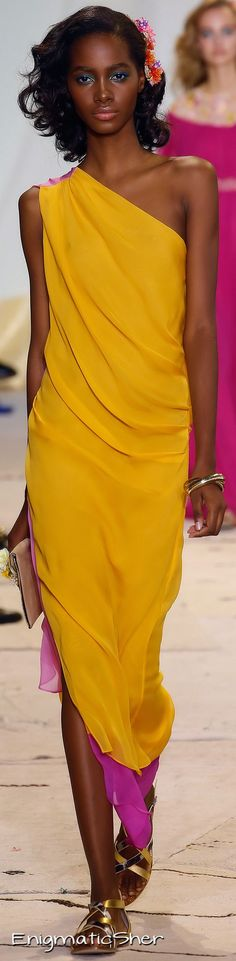 Yellow long one shoulder dress. women fashion outfit clothing style apparel @roressclothes closet ideas