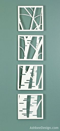 Ashbee Design: Birch Tree Shadow Box • Simple and Stunning- le dessin est en volume - fait en papier