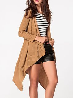 Lapel Asymmetric Hem Ribbed Plain Cardigan Only  14.95 USD More info. fd18bcd02