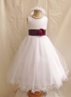Flower Girl Dresses  WHITE with Purple Plum by NollaCollection, $34.99