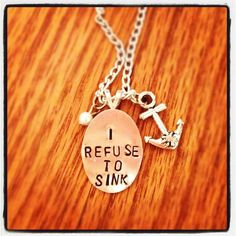 Silver Plated I Refuse To Sink Anchor Necklace by SAllenDesigns, $15.00