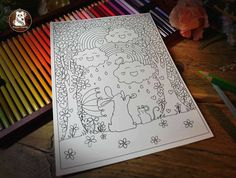Happy Clouds Colouring Page