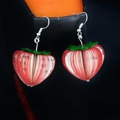 Newly made Book Strawberry Earrings shipping Worldwide Available on our website and Etsy shop #strawberries #strawberry #summer #summerfruit #red #earrings #strawberryfields #paper #bookart #book #books #silver #fruit #paperfruit # jewellery #jewelry #etsyshopupdate #Etsy #creatoncrafts #instapic