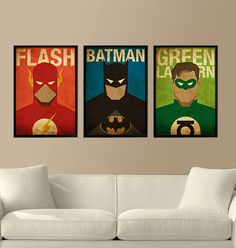 Superheroes Flash, Batman and Green Lantern - 3 Posters for 40 Dollars - A3 Size