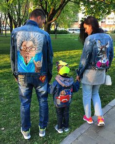 Hand painted denim jacket Jacket with painting Jacket with art