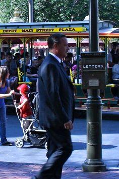 "Tom Hanks in Disneyland 2013 ~ playing Walt Disney in the movie ""Saving Mr. Banks."""
