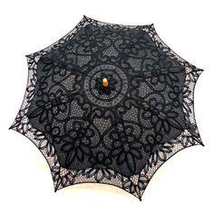 """Cotton and Lace Parasol - Black 20"""""""