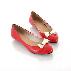 red shoes and gold bows