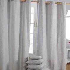 Cotton Plain Grey Ready Made Eyelet Curtain Pair