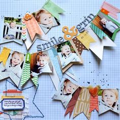 These face flags would be perfect for each person SMILE & GRIN scrapbook layout by Paige Evans Scrapbook Bebe, Scrapbook Expo, Scrapbook Page Layouts, Scrapbook Cards, Scrapbook Photos, Photo Layouts, Scrapbook Paper Crafts, Stampin Up Karten, Studio Calico