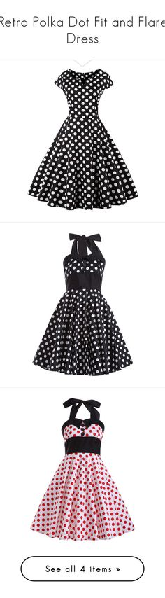 """Retro Polka Dot Fit and Flare Dress"" by rosegal-official ❤ liked on Polyvore featuring dresses, dot dress, spotted dress, fit and flare dress, retro-inspired dresses, fit flare dress, retro polka dot dress, polka dot dresses, halter neckline dress and halter fit and flare dress"