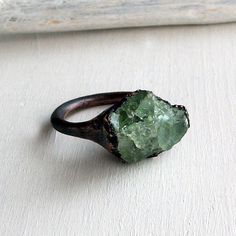 Handmade copper ring with raw beryl