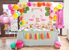 Partyscape from Spring Flamingo Birthday Party at Kara's Party Ideas. See more…