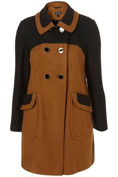 Caramel Colour Block Double Breasted Coat. £80