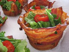 Bacon Cups ~ used an upside down muffin pan, covered it in foil, wove bacon around the muffin cups, and baked the bacon at 400 degrees into a crispy mini bowl.