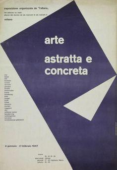 Arte astratta e concreta, exhibition, Milano, January 4 (11) – February 2 (9), 1947. Design: Max Huber