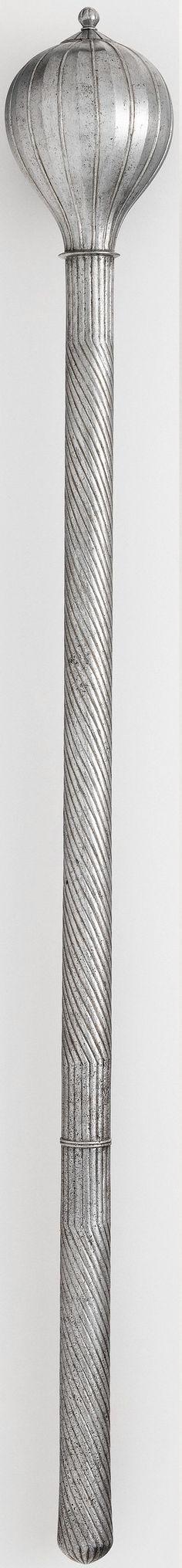 Ottoman mace, 16th century, steel, weight, 2 lb. 12 oz. (1247 g) Length, 28 in. (71.12 cm) Length of head, 4 1/2 in. (11.43 cm) Greatest width, 2 13/16 in. (7.14 cm), Met Museum.