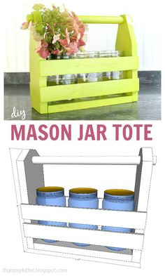 That's My Letter: Mason Jar Tote with free plans